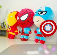 Wholesale 48PCS The Avengers Spiderman Iron Man Captain America Dolls CM Toys Doll PP Cotton Plush Stuffed Toy Cartoon Dolls Boys Gift DHL EMS K3644