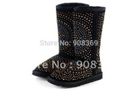 sewing box - int l brand limited edition knee high Snow boots Rivet warm Tall Suede boots with Security Hologram in BOX