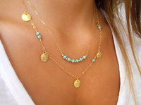 american coin jewelry - Gold silver layer chain bar necklace fashion women beaded turquoise coin pendant necklace chain clavicle charm jewelry party festive gift