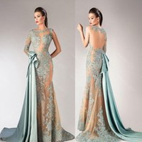Reference Images Trumpet/Mermaid Jewel/Bateau 2016 New Hanna Toumajean Aqua Bateau Sheath With Long Sleeves Prom Dresses Detachable Train Sheer Formal Arabic Evening Gowns BA0711