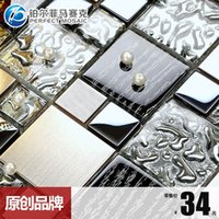 Wholesale T Platinum Amalfi Mediterranean DG50 crystal glass mosaic tile puzzle backdrop wall stickers affixed black and white