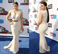 Reference Images V-Neck Elastic Satin 2014 Sexy Kim Kardashian Mermaid Evening Gowns V Neck Satin Summer Cap Sleeves Celebrity Dresses with Gold Belt