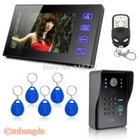 Wholesale 7 quot Lcd Wired Video Doorbell Intercom RFID Keyfobs Key IR Camera Remote Moniotor Control