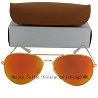 amber case - 100pcs DHL New Men Women Designer Sunglasses Gold Frame Mirror mm Glass Lens Glasses Color With Case And Box