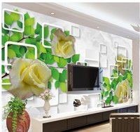 Wholesale Non woven wallpaper open green leafy rose marble mural wallpaper papel de parede wall sticker wallpapers factory direct20152912