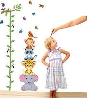 animal removals - Cute Zoo Animals Stack Height Wall Sticker Decals Kids Baby Removal Pared Vinyl Wallpaper Mural Children Home Room Wall Decor