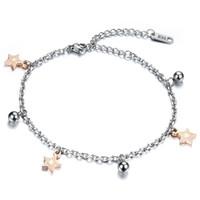 adjustable anklet bells - Titanium steel bracelet cute girls star wind bells bracelet length adjustable anklet dual gift GS778