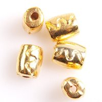 Wholesale Best selling Carved Ripple Wave Gold Tone Tube Shape Alloy Spacer Beads Fit Jewelry DIY mm