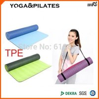 Wholesale Gym center use TOP QUALITY TPE Yoga Mat mm biodegradable thick long exercise cushion with portable shoulder strap w colors