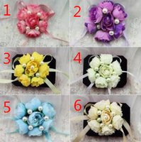 Wholesale Pearl Wrist Corsage For Bridesmaid colors Mix New Arrival B4