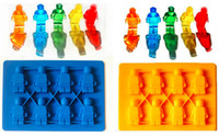 Wholesale Figurine Ice Mold Robot Trays Cube Silicone Lego Mini Man Style Chocolate Candy Soap Candle Jello Crayons Shaped Lattice Free DHL