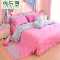 Cheap 2015 New 100% Cotton Princess lace style Bedding Set Satin Jacquard Bed Set Duvet cover Full Queen King size Bedspread Bed linen