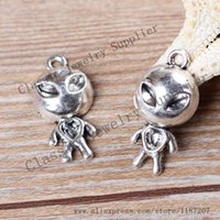 alienware accessories - DIY Jewelry Accessories Antiqued Silver Tone Vintage Alloy Alienware UFO Pendant Charms mm