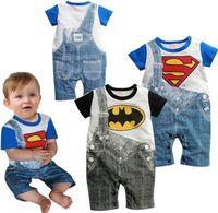 newborn clothing - 2015 DHL Cute Summer Newborn Clothes Baby Suit Boys Superman Batman Romper Cotton M
