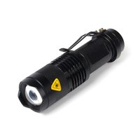Wholesale Black CREE Mini XML Q5 Lum SK68 Adjustable Zoomable LED Lamps Flashlights Torch Not Waterproof OT8G