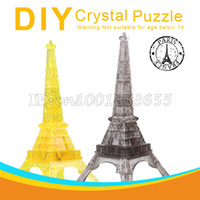 ai led - dimensional crystal puzzle plastic building assembled toy gift led music Ai Eiffel Tower in Paris