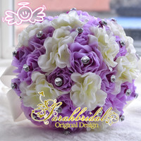 Wholesale 2015 Cheap Bridal Artificial Bouquet Wedding Decoration Bridesmaid Flower Crystals Silk Rose Lilac Beads Lilac Pink Actual Image WF017