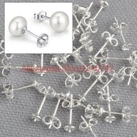 Wholesale Stock Real Sterling Silver Jewelry Findings DIY Stud Earrings Ear With Back Stopper Post Pin DIY
