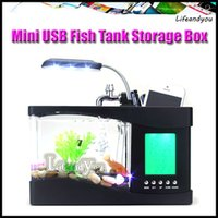aquarium tank - Mini USB Fish Tank LCD Desktop Lamp Light Fish Tank Aquarium LED Clock Storage Box Decoration Fish Bowl Birthday Xmas gift DHL