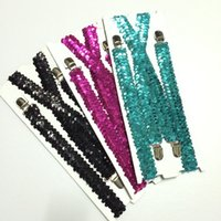 Wholesale Via Fedex Adults Sequin Suspender For Party Clips Adjustable Elastic Suspender Mens Sequin Brace Belts Strap