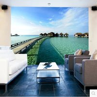 home decor fabric - New can custom made large D mural art wallpaper home decor Personality visual Ocean scenery Nonwoven fabric wallsticker TV setting