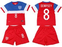 Wholesale 2014 Dempsey United States soccer football jersey kits for kids children youth soccer uniforms