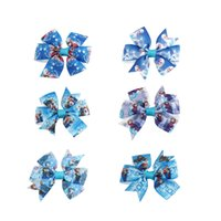 Hair Bows ribbons and bows - Hot Selling Style inch Patternred Grsograin Ribbon Boutique Frozen Hair Bows for Babies and Kids