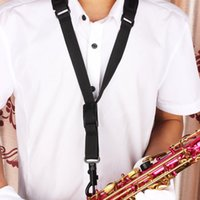 Wholesale 4pcs hot product Black Duarble Single Shoulder Sling Belt Strap with Plastic Hook for Sax Saxophone MIA_438