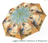 best selling posters - Best sell Oil painting design Automatic umbrella with Famous Monet painting Poster pattern Windproof Folding Umbrellas for women