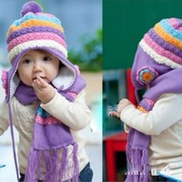Wholesale Baby Girls Winter Hats Pineapple Hat Scarf Set Warm Children s Hat And Scarf