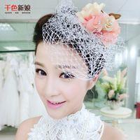 adorn hats - 2016 new bride hair headdress flower hat coagulation fu Korean manual wedding veil headdress flower net yarn dress adorn article