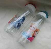 Christmas Gift Frozen Drinkware Copes Anna Elsa Princess Kids Cartoon PP Suction Cup Bouteille d'eau Straw Sports Bottles Free DHL Factory Price