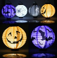Wholesale DDA3460 LED Halloween Pumpkin Lanterns Halloween Pumpkin Lamp Paper Lantern lights Spiders Bats Skull Pattern Pumpkin Lanterns