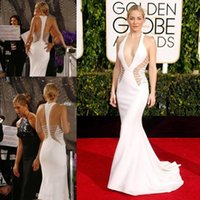 Wholesale Golden Globe Awards Kate Hudson Celebrity Dresses Deep V Neck Hollow Backless Evening Gowns Mermaid Crystals plunging Prom Dresses