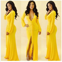 Wholesale Autumn Maxi Dresses Best Quality Women s Yellow Long Sleeve Cotton Maxi Long Party Vestidos Dress b14
