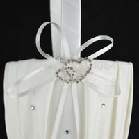 Wholesale 2014 New Fashion Ivory Satin Pearl Diamante Wedding Party Double Heart Flower Girl Basket Decoration