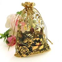 al por mayor gasa de oro-Bolso al por mayor de la Navidad del color de Rose del oro de 100pc / lot los 9X12cm Wedding los bolsos baratos de las bolsas de los bolsos de empaquetado del regalo del Voile del Organza