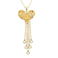 Cheap Newest Fashion Chinese Traditional Women Summer Chain Gold Plated Heart with Rhinestone Jewelry Tassels Pendant Necklace