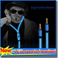 studio flash - New LED visible headphones flowing glow flash light earbuds stereo earphones headset with mic for smartphone tablet iPhone