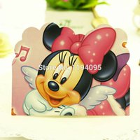Wholesale 12 pieces Minnie Mouse party Invitation Cards kids birthday party supplies for girl