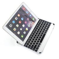 al por mayor china inalámbrica inteligente-Para iPad Air 2 inalámbrico Bluetooth Smart Backlight Teclado casos de aleación de aluminio Ultra fino Tablet PC Stand Cover para iPad 5