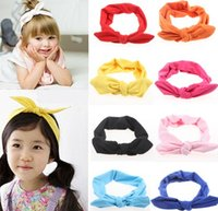 Headbands baby kiki - Hot Baby Hair Band Babies Lovely Bow Solid Hair Warp European Infant Bunny Ear Hairband Color kiki Mother And Daughter Hairbands I4256