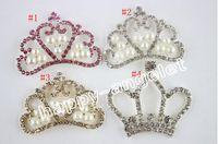 Cheap 10pcs lot Pearl crown DIY Hair Garment Accessories Clear Crystal Rhinestone,Acrylic Rhinestone Buttons for Embellishmen DIY1103