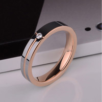 Wholesale Rose Gold Plated Tungsten Ring Inlay AAAA Zirconia Girls Ring Women Ring mm size