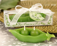 Wholesale 20 Set Two Peas In a Pod Candle For Wedding Party Birthday Souvenirs Gifts Favor