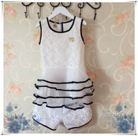 top brand - 2015 Summer Brand Fashion Children Ouftis Baby Girl White Chiffion Lace Good Quality Set Set Top Short Pant Baby Kid Clothing UA4