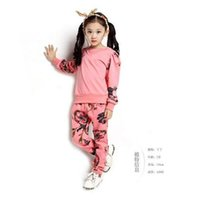 track suit - 2015 children girls suits sets cotton embroidered long sleeved T shirt pants clothing girls track suit girls sport sets xx196