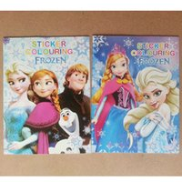 Wholesale Frozen Cartoon A4 Kids Coloring Book with Stickers Drawing book Children Gift Hotsale