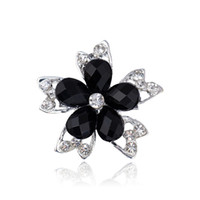 acryl plate - Brooches For Women Fashion Black Acryl Stone Zinc Alloy Gunmetal Brooch Pins Women Rhineston Brooch