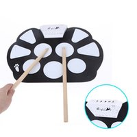 Wholesale New Professional Roll up Drum Pad Kit Silicon Foldable with Stick Portable Drum Electronic Drum USB Drum